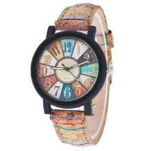 Kolorowy zegarek na korkowym pasku