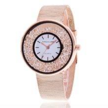 Zegarek na bransolecie z ruchomymi kryształkami