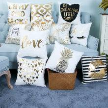 Poszewka dekoracyjna na poduszkę ze złotym nadrukiem
